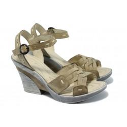 Български анатомични сандали на ток МЙ 24164 т.бежови