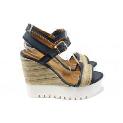Дамски сандали на платформа МИ 2273 син
