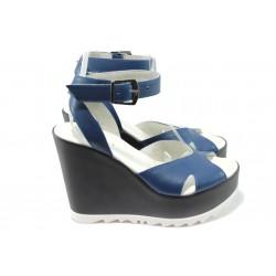 Дамски сандали от естествена кожа на платформа ГА 964-6 син