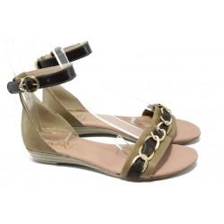 Дамски равни сандали от естествена кожа МИ 308 бежов