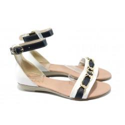 Дамски равни сандали от естествена кожа МИ 308 бял-син