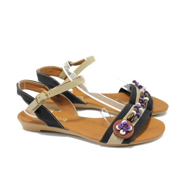 Дамски равни сандали цветни МИ 1 черна сандала
