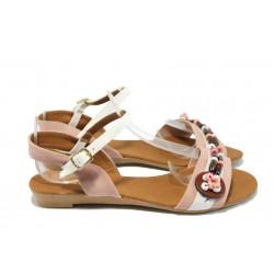 Дамски равни сандали цветни МИ 1 розова сандала