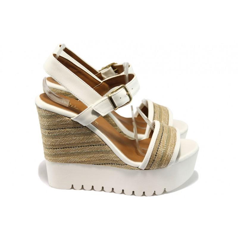 0335334b58f Дамски сандали на платформа МИ 2273 бели