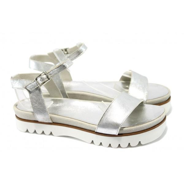 Анатомични дамски сандали от естествена кожа ГА 623-29 сив