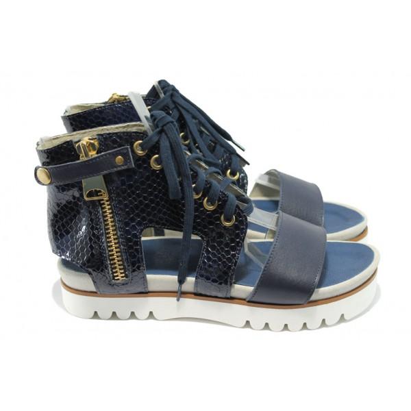 Анатомични дамски сандали от естествена кожа ГА 857-6 син