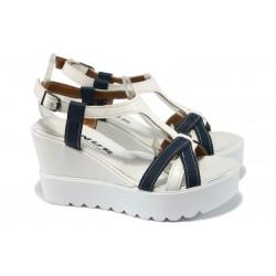 Дамски сандали на платформа МИ 105-5475 бял-син