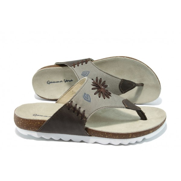 Анатомични дамски чехли от естествена кожа МЙ 24193 сив-кафяв