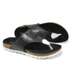 Анатомични дамски чехли от естествена кожа МЙ 24193 черен