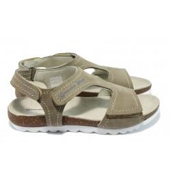 Анатомични дамски сандали от естествена кожа МЙ 24192 бежов