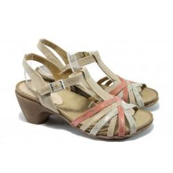 Анатомични дамски сандали от естествена кожа ИО 1589 корал