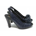 Анатомични дамски сандали от естествена кожа НЛ 114-7976 син