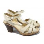 Анатомични дамски сандали от естествена кожа ИО 1586 бежов