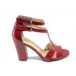 Дамски елегантни сандали на висок ток МИ 978 червен
