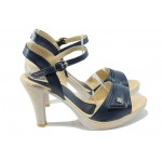 Дамски сандали на висок ток МИ 1019 син