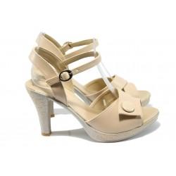 Дамски сандали на висок ток МИ 1022 бежов