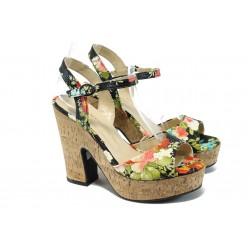Дамски сандали на висок ток с цветя МИ 938 черни