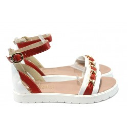 Дамски равни сандали от естествена кожа МИ 320-1 бял-червен