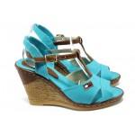 Дамски сандали на платформа МИ 25 син