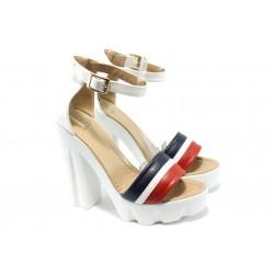 Дамски сандали на висок ток МИ 17-53 бели
