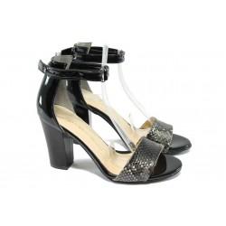 Дамски сандали на висок ток МИ 143 черно-сив