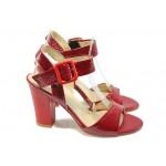 Дамски сандали на висок ток МИ 146 червен кроко