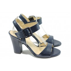 Дамски сандали на висок ток МИ 146 син кроко