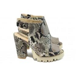Дамски сандали на висок ток МИ 952 бежово-кафяв