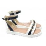 Дамски равни сандали от естествена кожа МИ 320-1 бял-син
