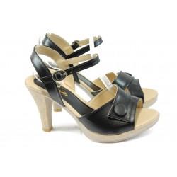 Дамски сандали на висок ток МИ 1022 черни