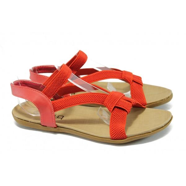 Дамски равни сандали с ластични ленти Runners 3721 червен