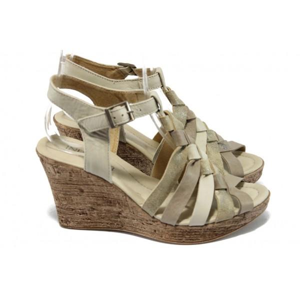 Анатомични дамски сандали на платформа от естествена кожа ИО 1577 бежов