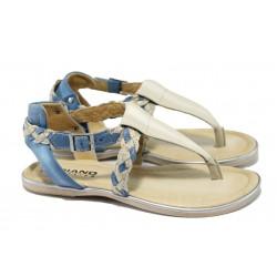 Дамски сандали от естествена кожа ИО 15101 син