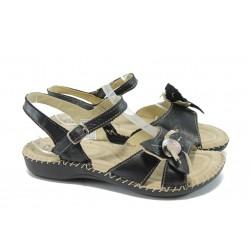 Български анатомични сандали от естествена кожа ГР 4076 черен