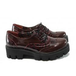 Дамски ортопедични обувки от естествена кожа-лак МИ 741-5630 бордо
