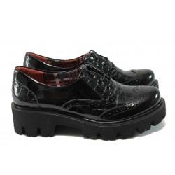 Дамски ортопедични обувки от естествена кожа-лак МИ 741-5630 черен