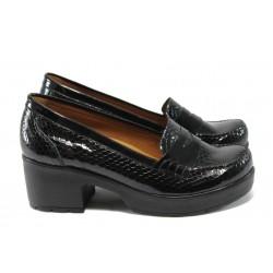 Дамски ортопедични обувки от естествена кожа-лак МИ 759-125 черен