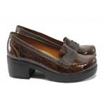 Дамски ортопедични обувки от естествена кожа-лак МИ 759-125 кафяв