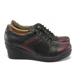 Анатомични дамски обувки на платформа МИ 1996 черно-бордо