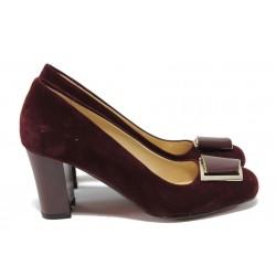 Елегантни дамски обувки на висок ток МИ 201 бордо