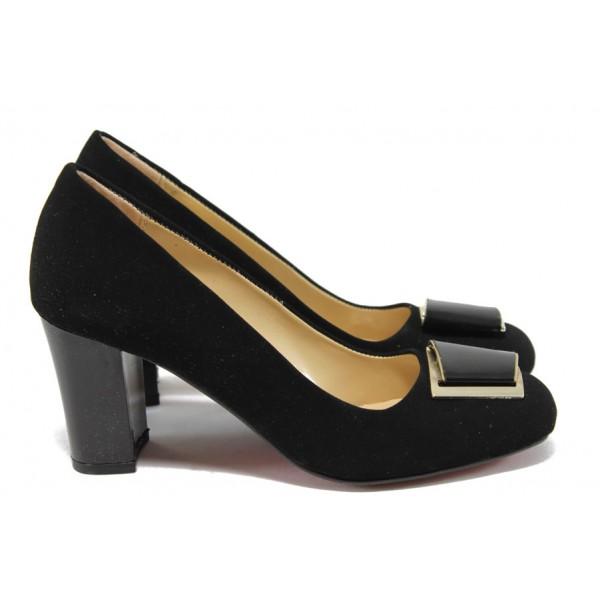 Елегантни дамски обувки на висок ток МИ 201 черен