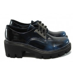 Анатомични дамски обувки естествена кожа МИ 31 син лак