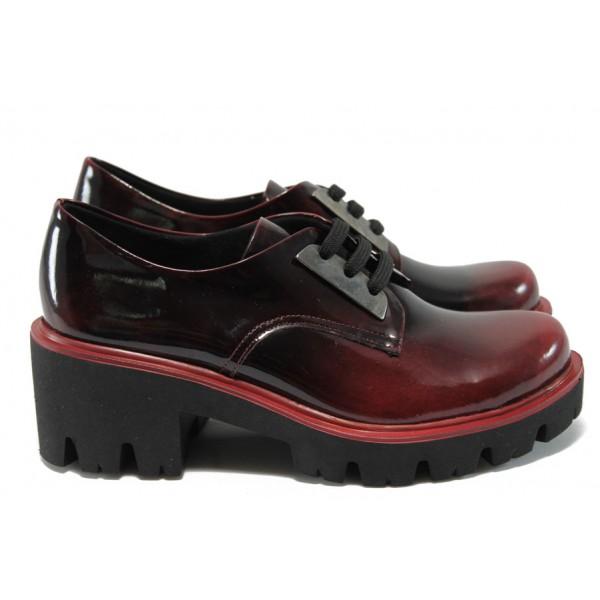 Анатомични дамски обувки естествена кожа МИ 31 бордо лак