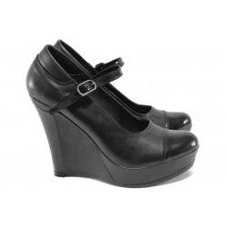 Анатомични дамски обувки от естествена кожа НЛ 200-8208 черен кожа-лак