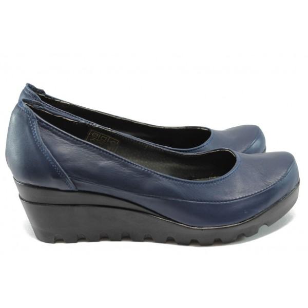 Анатомични дамски обувки от естествена кожа НЛ 169-15431 син