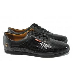 Дамски обувки от естествена кожа-лак МИ 109-83 черен
