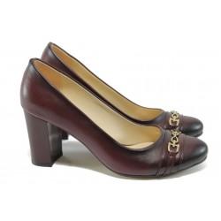Елегантни дамски обувки на висок ток МИ 819 бордо