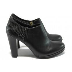 Дамски обувки от естествена кожа МИ 6060-11707 черен