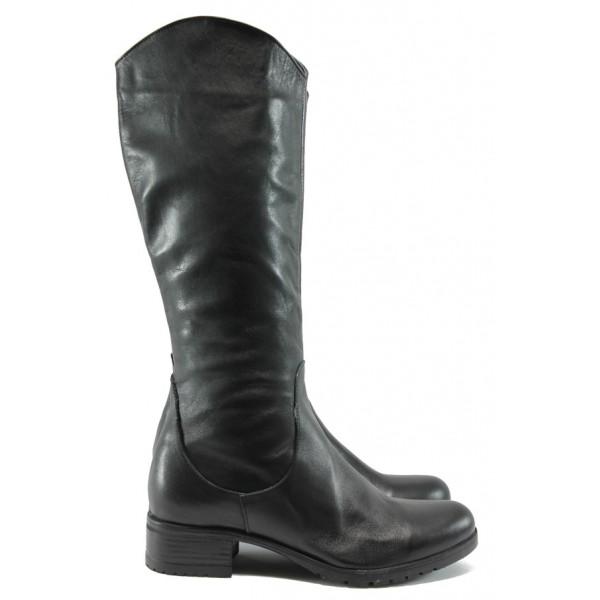 Дамски ежедневни ботуши от естествена кожа МИ 1200 черен