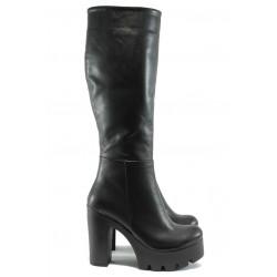 Дамски ботуши от естествена кожа на висок ток МИ 1 черен